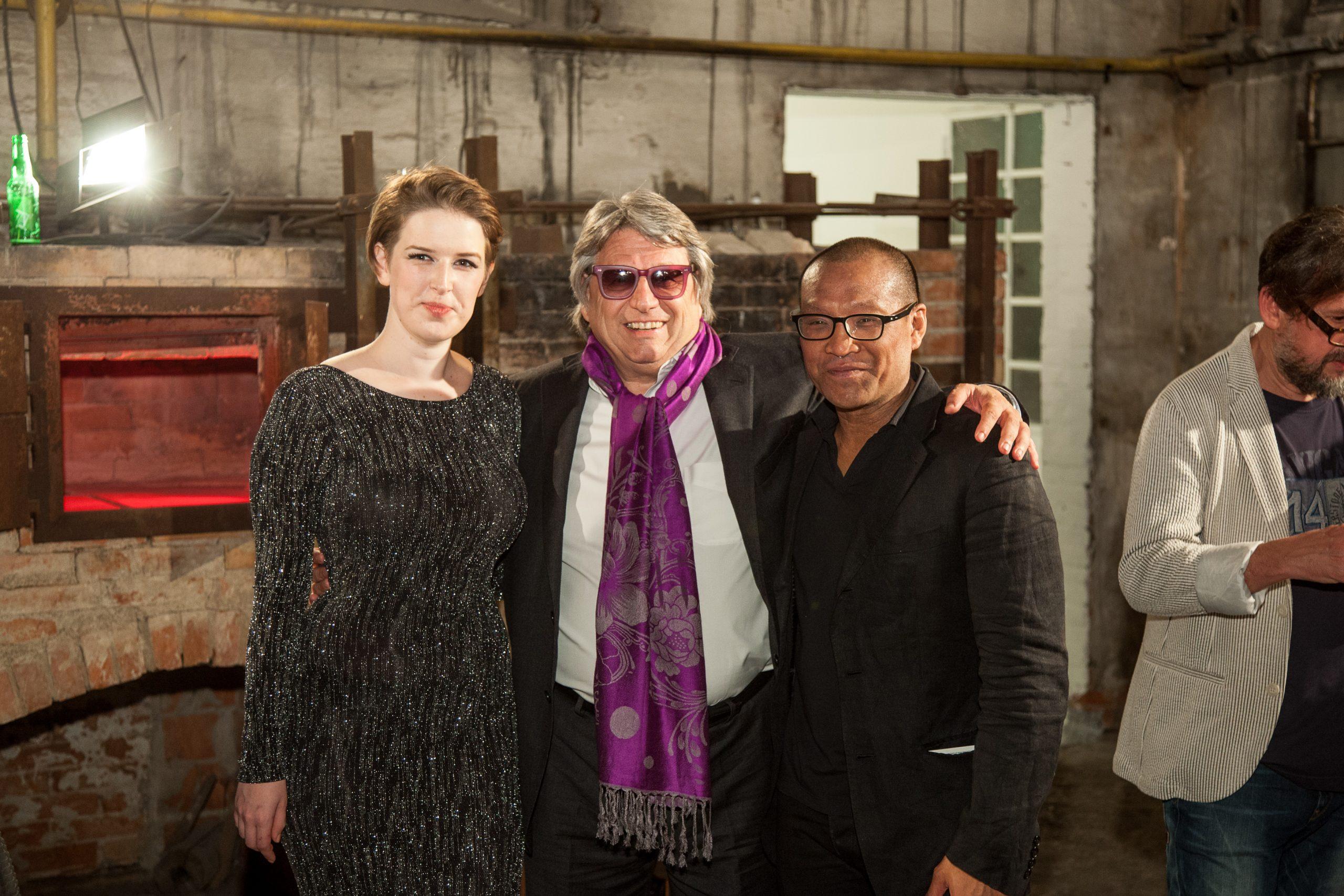 Erin Dickson, Adriano Berengo, and Jeffrey Sarmiento in Berengo Studio