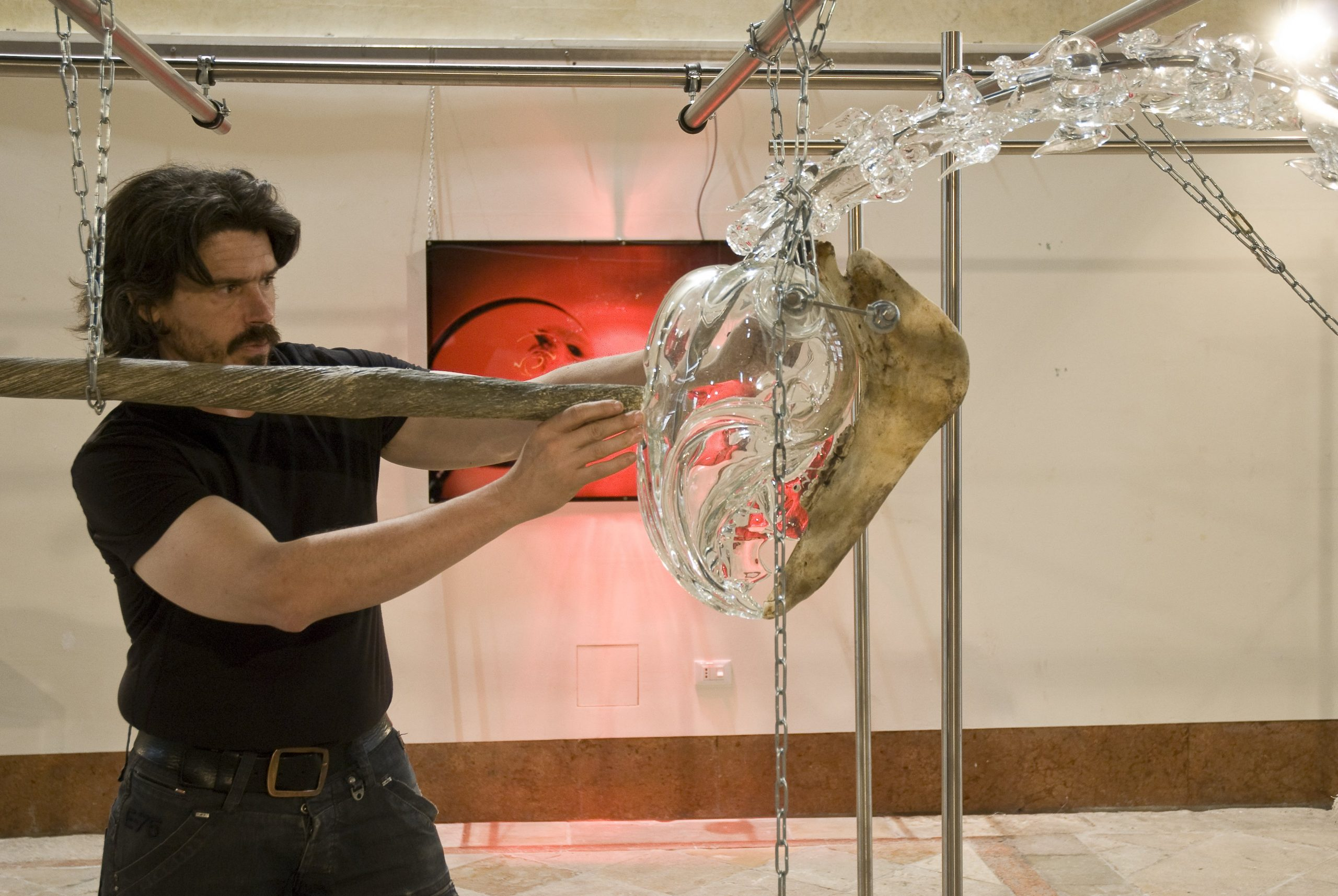 Koen Vanmechelen installing his work at Glasstress 2009