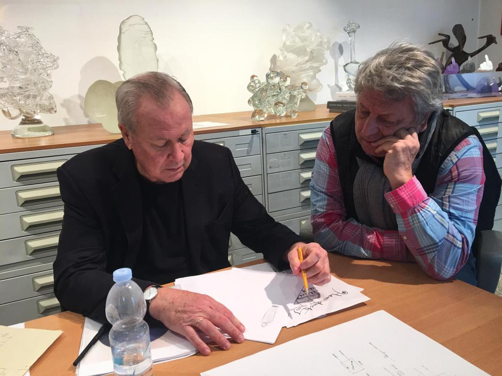 Robert Wilson and Adriano Berengo in Berengo Studio