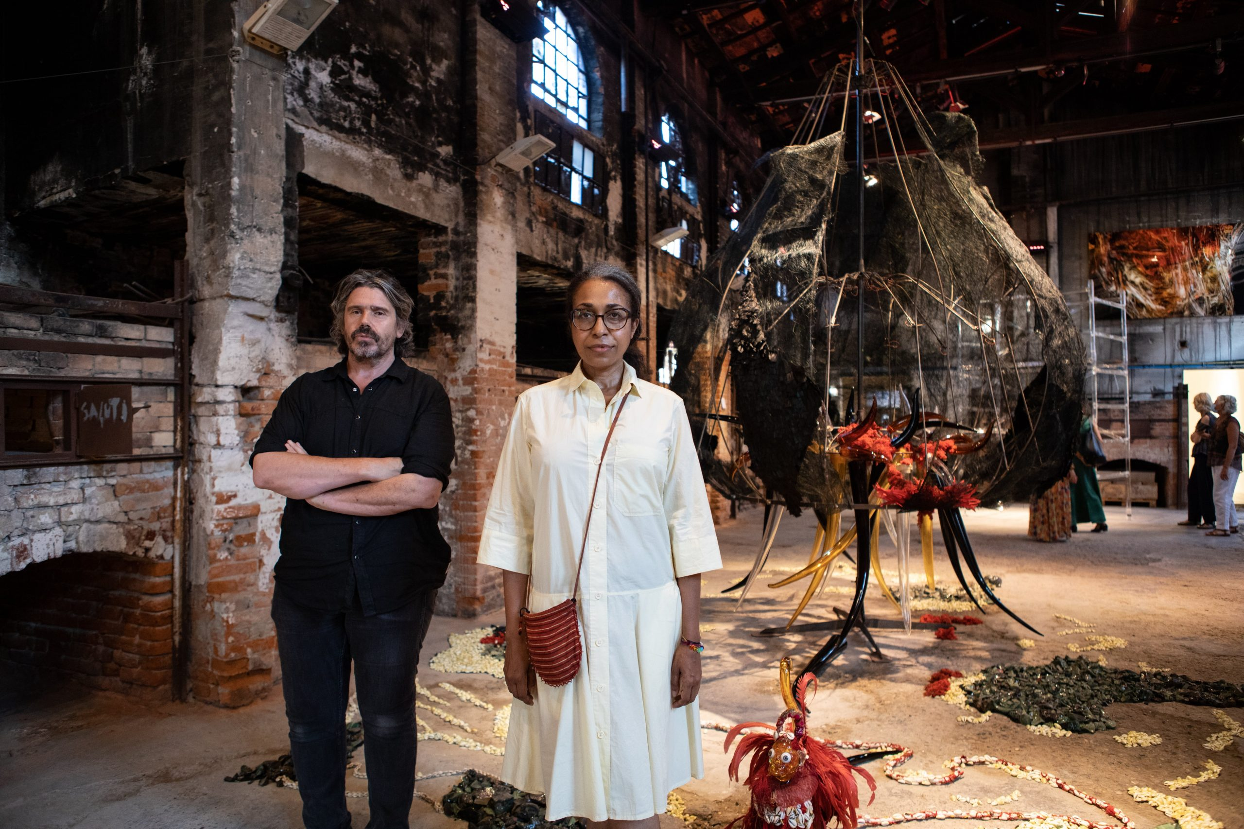 Curators Koen Vanmechelen and Nadjia Romain at Unbreakable: Women in Glass