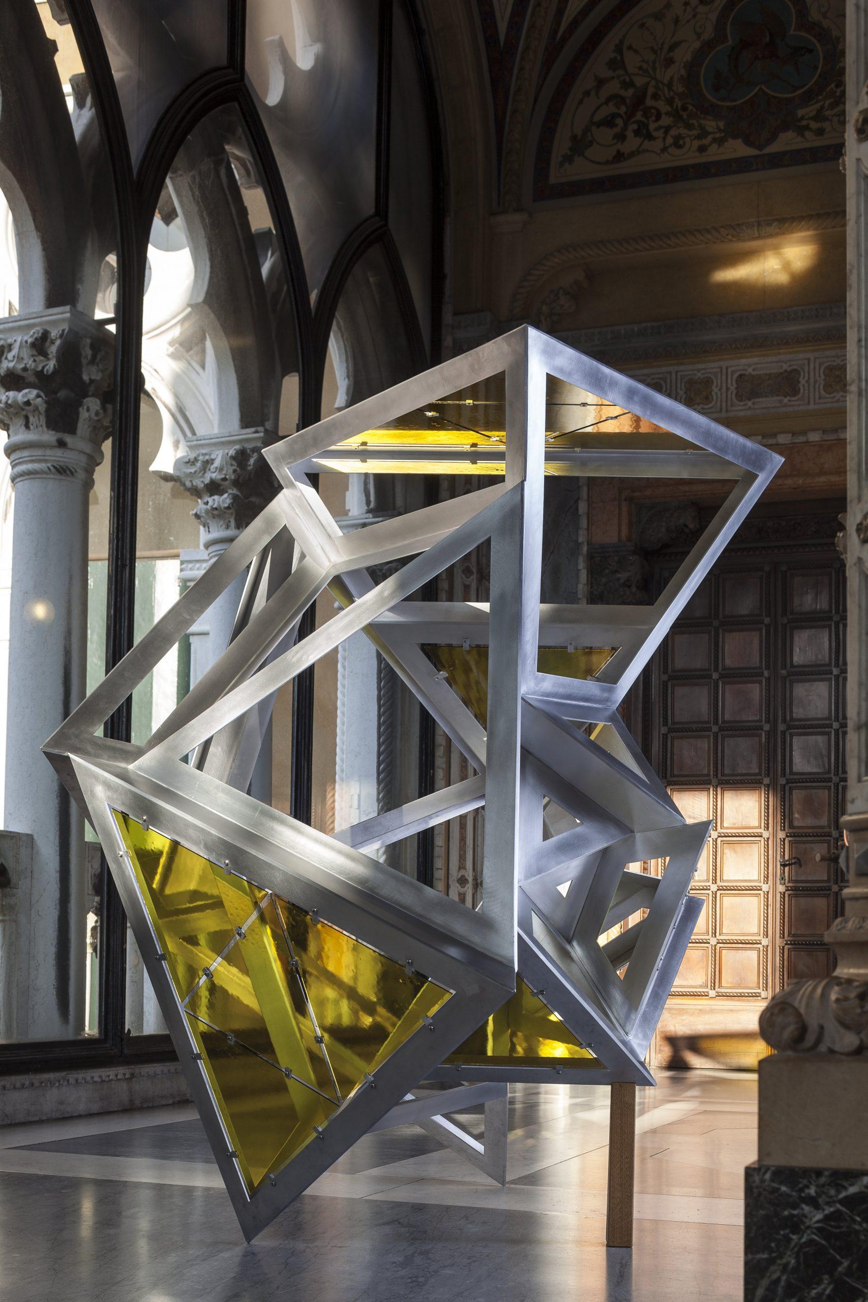 Conrad Shawcross' Perimeter Studies (Icosahedron) Arrangement 2 – Yellow Glass
